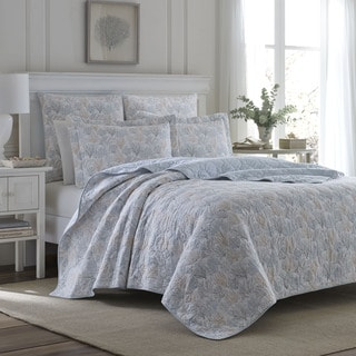 Laura Ashley Coral Sea Gray Quilt Set