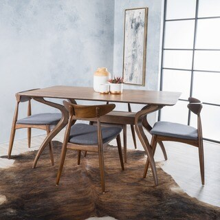 Carson Carrington Lund Mid-Century 5-piece Large Wood Rectangular Dining Set with Curved Legs