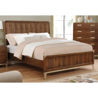 Furniture of America Tamelia Transitional Dark Oak Gold Accented Platform Bed