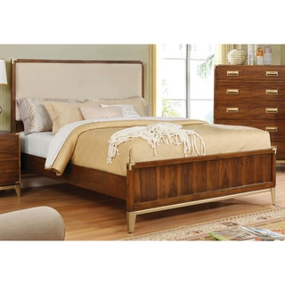 Furniture of America Tamelia II Transitional Dark Oak Gold Accented Upholstered Platform Bed