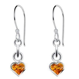 Orchid Jewelry Sterling Silver 0.82 Carat Citrine Small Heart Drop Earrings