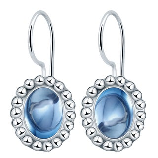 Orchid Jewelry Solid Sterling Silver 3 1/2 Carat Blue Topaz Oval Dangle Earrings