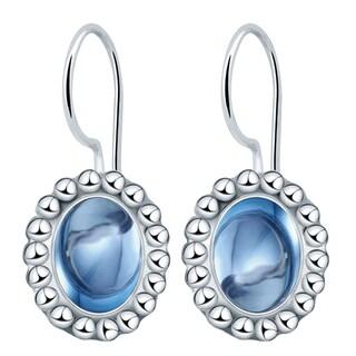 Orchid Jewelry Solid Sterling Silver 3 1/2 Carat Blue Topaz Dangle Hook Earrings