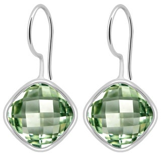 Orchid Jewelry Solid Sterling Silver 6 1/8 Carat Green Amethyst Cushion Drop Earrings