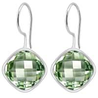 Orchid Jewelry Solid Sterling Silver 6 1/8 Carat Green Amethyst Bezel Earrings