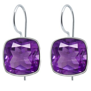 Orchid Jewelry Solid Sterling Silver 7 3/4 Carat Amethyst Cushion Shape Earrings