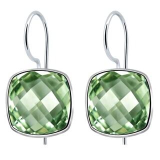 Orchid Jewelry Solid Sterling Silver 6 2/5 Carat Green Amethyst Checker Cut Earrings