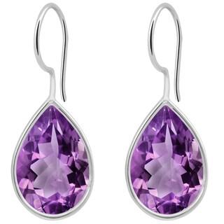 Orchid Jewelry Solid Sterling Silver 8 1/2 Carat Amethyst Bezel Set Teardrop Earrings