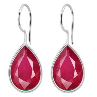 Orchid Jewelry Solid Sterling Silver 10 1/5 Carat Ruby Bezel Set Teardrop Earrings