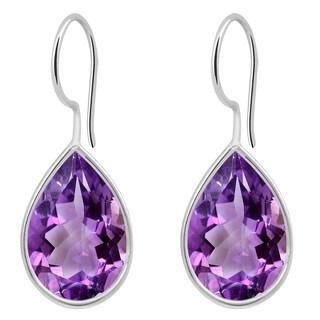 Orchid Jewelry Solid Sterling Silver 5 3/5 Carat Amethyst Bezel Set Teardrop Earrings