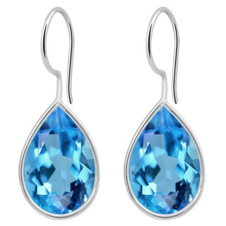 Orchid Jewelry Solid Sterling Silver 6 3/5 Carat Blue Topaz Bezel Set Teardrop Earrings