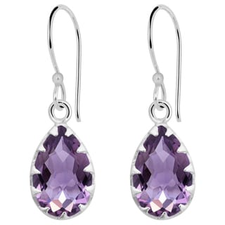 Orchid Jewelry Solid Sterling Silver 7 Carat Amethyst Claw Set Teardrop Earrings