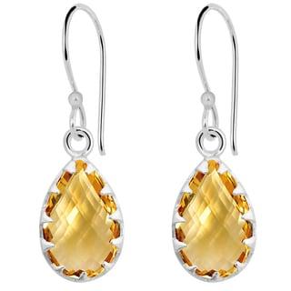 Orchid Jewelry Solid Sterling Silver 7 1/5 Carat Citrine Claw Set Teardrop Earrings
