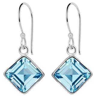 Orchid Jewelry Solid Sterling Silver 4 1/5 Carat Bezel Set Princess Blue Topaz Earrings
