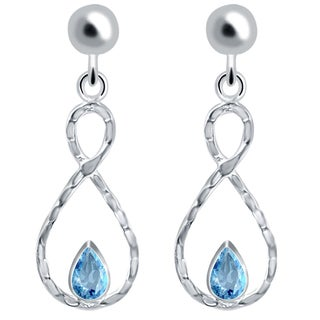 Orchid Jewelry Solid Sterling Silver 0.89 Carat Blue Topaz Infinity Dangle Earrings