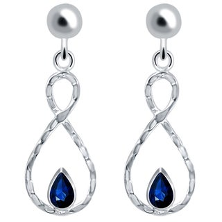 Orchid Jewelry Solid Sterling Silver 1 Carat Sapphire Infinity Dangle Earrings