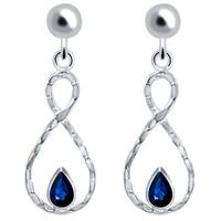 Orchid Jewelry 925 Sterling Silver 1 Carat Sapphire Infinity Dangle Wedding Earrings