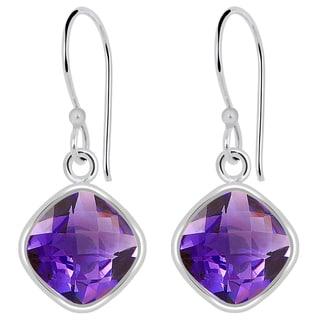 Orchid Jewelry Solid Sterling Silver 7 1/2 Carat Amethyst Wedding Earrings