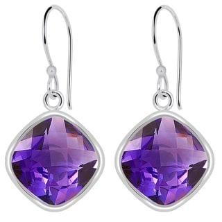 Orchid Jewelry Solid Sterling Silver 7 2/9 Carat Amethyst Wedding Earrings