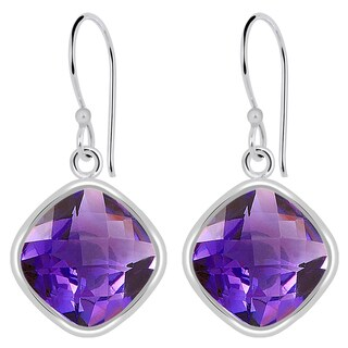 Orchid Jewelry Solid Sterling Silver 12 1/5 Carat Amethyst Wedding Hook Earrings