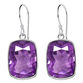 Orchid Jewelry Solid Sterling Silver 17 1/9 Carat Amethyst Wedding Earrings