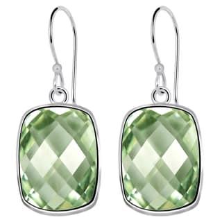 Orchid Jewelry Solid Sterling Silver 9 4/5 Carat Green Amethyst Gemstone Earrings