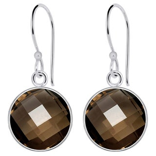 Orchid Jewelry Solid Sterling Silver 6 3/4 Carat Smoky Quartz Gemstone Earrings