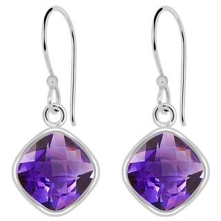 Orchid Jewelry Solid Sterling Silver 4 Carat Amethyst Gemstone Earrings
