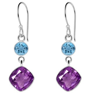 Orchid Jewelry Solid Sterling Silver 10 1/5 Carat Amethyst and Blue Topaz Gemstone Earrings