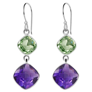 Orchid Jewelry Solid Sterling Silver 15 6/7 Carat Purple and Green Amethyst Gemstone Earrings