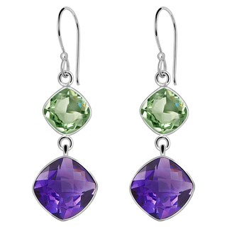 Orchid Jewelry 925 Sterling Silver 15 6/7 Carat Purple & Green Amethyst Gemstone Dangle Earrings