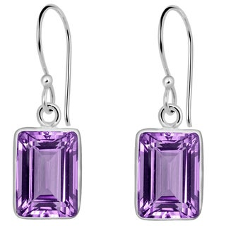 Orchid Jewelry Solid Sterling Silver 4 4/7 Carat Amethyst Gemstone Earrings