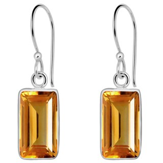 Orchid Jewelry Solid Sterling Silver 4 3/4 Carat Citrine Gemstone Earrings