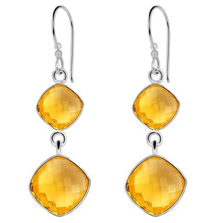 Orchid Jewelry Solid Sterling Silver 11 1/5 Carat Citrine 2 Tier Earrings
