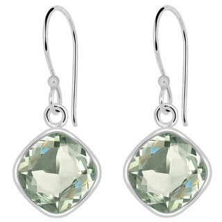 Orchid Jewelry Solid Sterling Silver 3 6/7 Carat Green Amethyst Cushion Drop Earrings