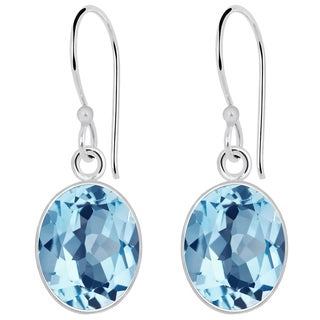 Orchid Jewelry Solid Sterling Silver 6 2/9 Carat Blue Topaz Oval Drop Earrings