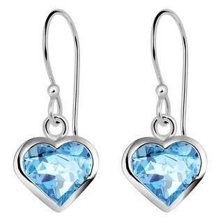 Orchid Jewelry Solid Sterling Silver 6 1/4 Carat Blue Topaz Heart Dangle Earrings
