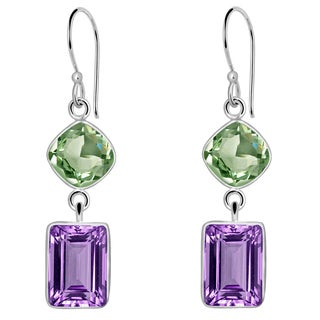 Orchid Jewelry Solid Sterling Silver 10 1/3 Carat Purple and Green Amethyst 2 Tier Drop Earrings