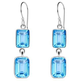 Orchid Jewelry Solid Sterling Silver 11 1/3 Carat Blue Topaz 2 Tier Drop Earrings