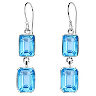 Orchid Jewelry Solid Sterling Silver 11 1/3 Carat Blue Topaz Gemstone Anniversary Earrings
