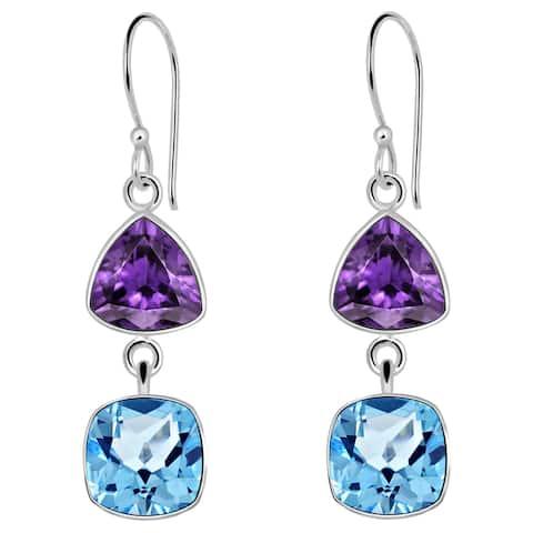 Amethyst Sterling Silver Triangle Dangle Earrings by Orchid Jewelry