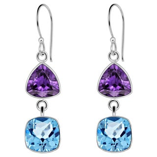Orchid Jewelry Solid Sterling Silver 8 2/5 Carat Amethyst and Blue Topaz 2 Tier Dangle Earrings