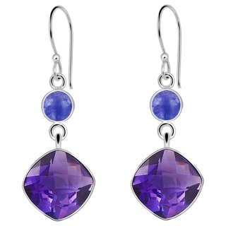 Orchid Jewelry Solid Sterling Silver 8 7/9 Carat Amethyst & Tanzanite Dangle Earrings