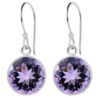 Orchid Jewelry Solid Sterling Silver 9 Carat Amethyst Round Drop Earrings