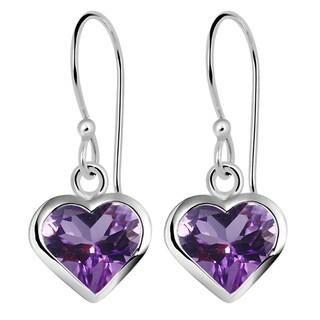 Orchid Jewelry Solid Sterling Silver 5 1/2 Carat Amethyst Heart Drop Earrings