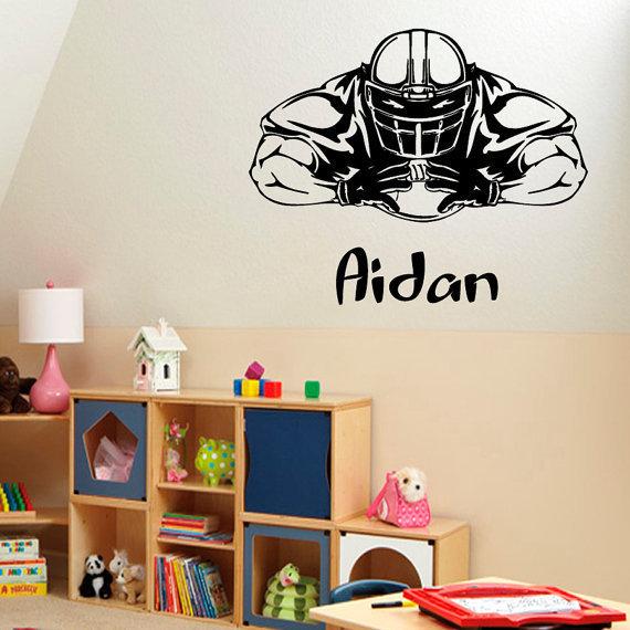 American Football Man Personalized Name Sportsman Stickers Vinyl Sticker Nursery Room Decor Decal Size 22x22