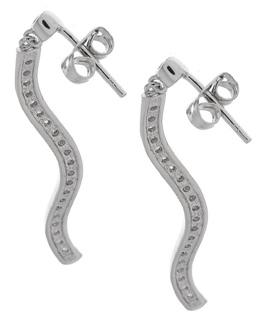 Icz Stonez CZ  Sterling Silver Dangling Wave Line Earring