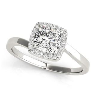 Transcendent Brilliance 14k White Gold 1/2ct TDW White Diamond Square Halo Engagement Ring