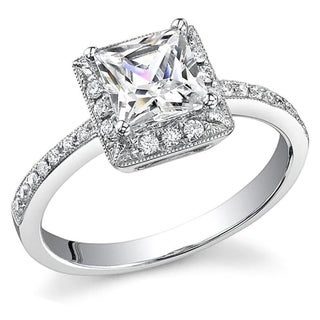 Transcendent Brilliance Princess Diamond Halo Engagement Ring 14k White Gold 1 1/10ct TDW
