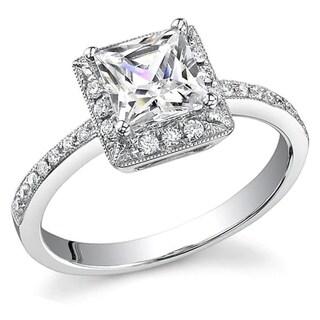 Transcendent Brilliance Princess Diamond Halo Engagement Ring 14k White Gold 1 1/3ct TDW
